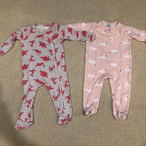 Pair of Nordstrom Baby Print Footies 9 Months